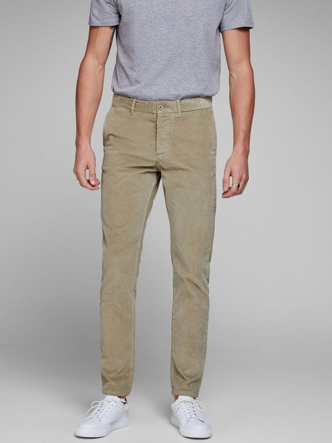 CORDUROY SLIM FIT PANTS Aluminum