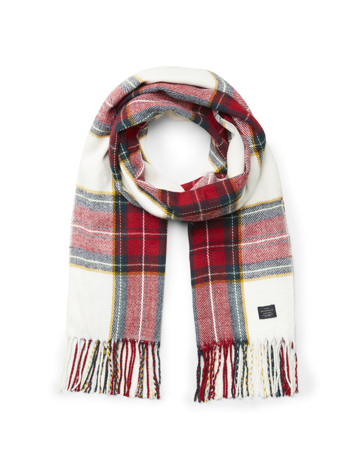 CHECKERED SCARF WITH FRILLS Cloud Dancer
