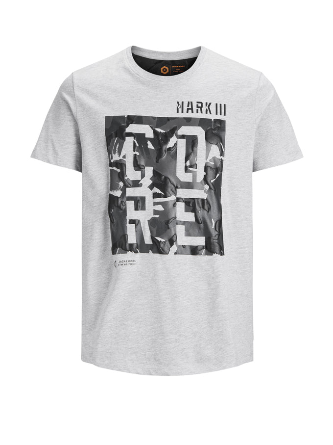 CORE T-SHIRT WITH CAMO LETTERING Light Grey Melange