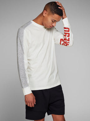 LONG SLEVE T-SHIRT WITH SPECKLED SLEEVES