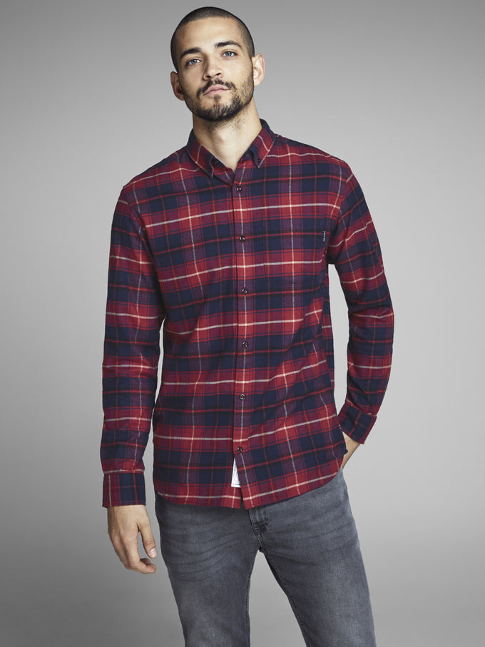 CHECKERED SLIM FIT PREMIUM SHIRT Brick Red