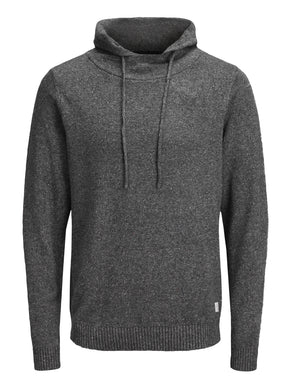 KNIT HOODIE WITH FLECKED PATTERN