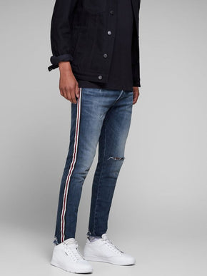 SLIM FIT CROPPED AND STRIPED GLENN 127 JEANS