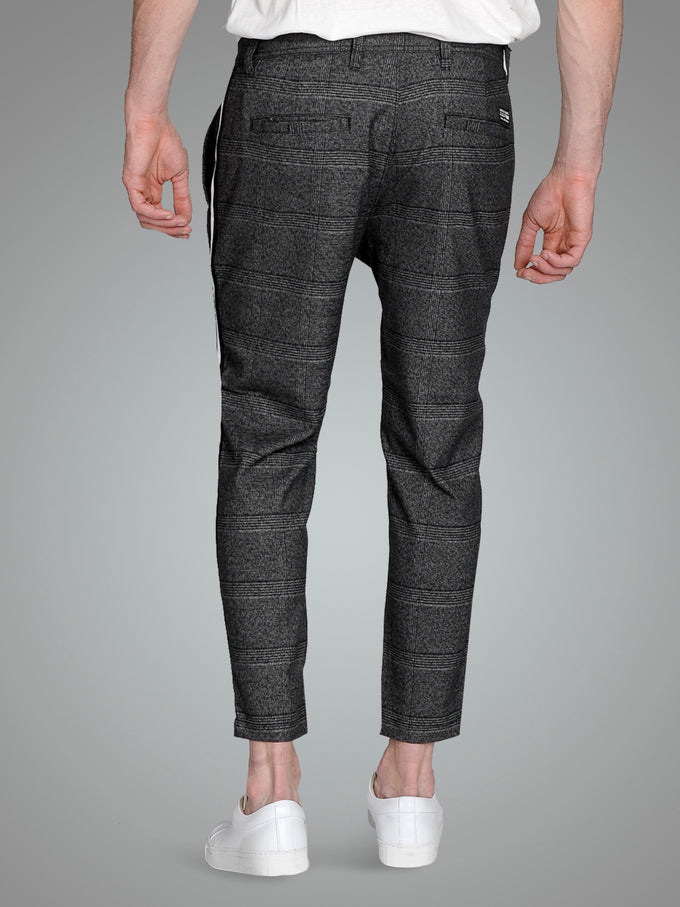CROPPED PANTS WITH CHECKERED PATTERN Grey Melange