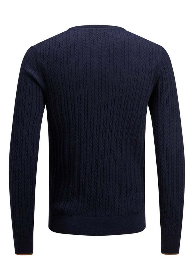CABLE KNIT STRETCHY SWEATER Maritime Blue
