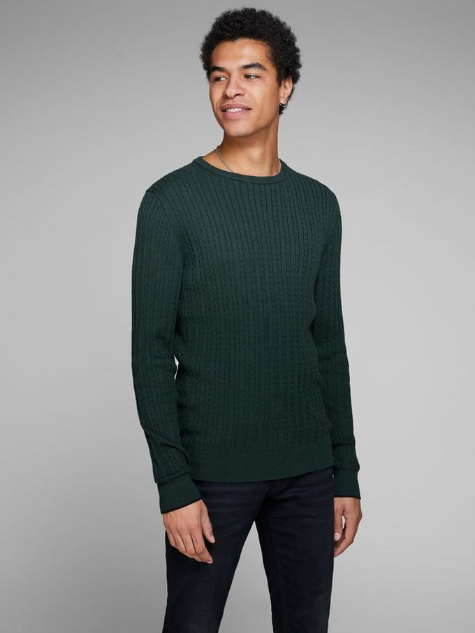 CABLE KNIT STRETCHY SWEATER Scarab