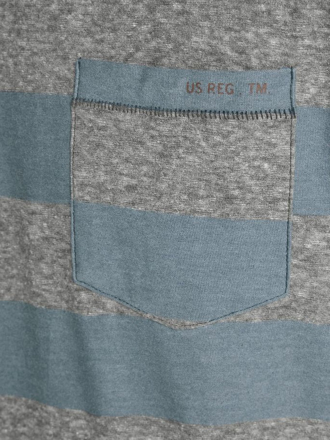 PREMIUM STRIPED POCKET T-SHIRT China Blue