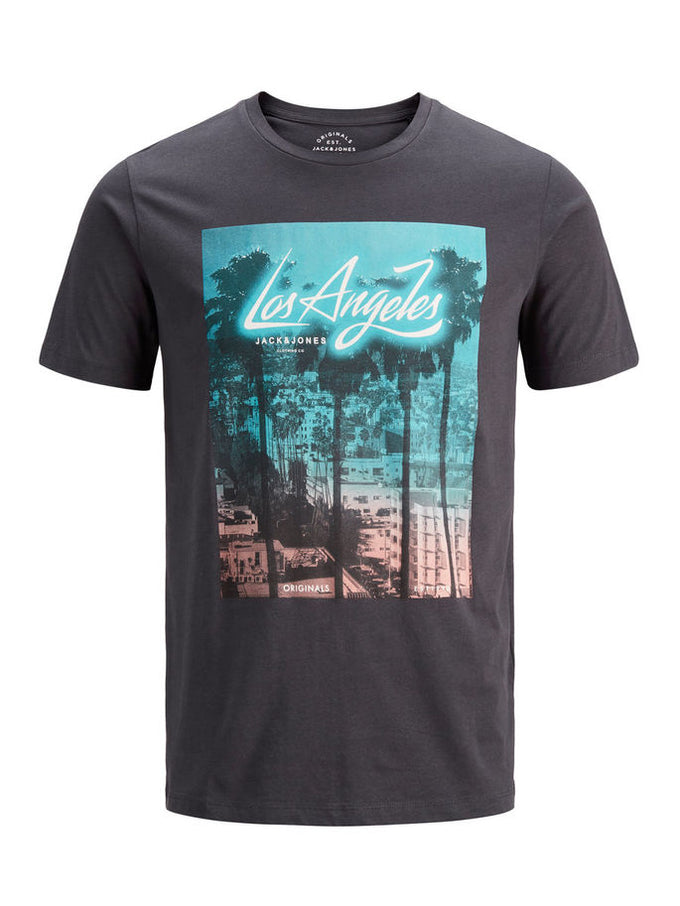 CITY T-SHIRT WITH NEON DETAILS Asphalt