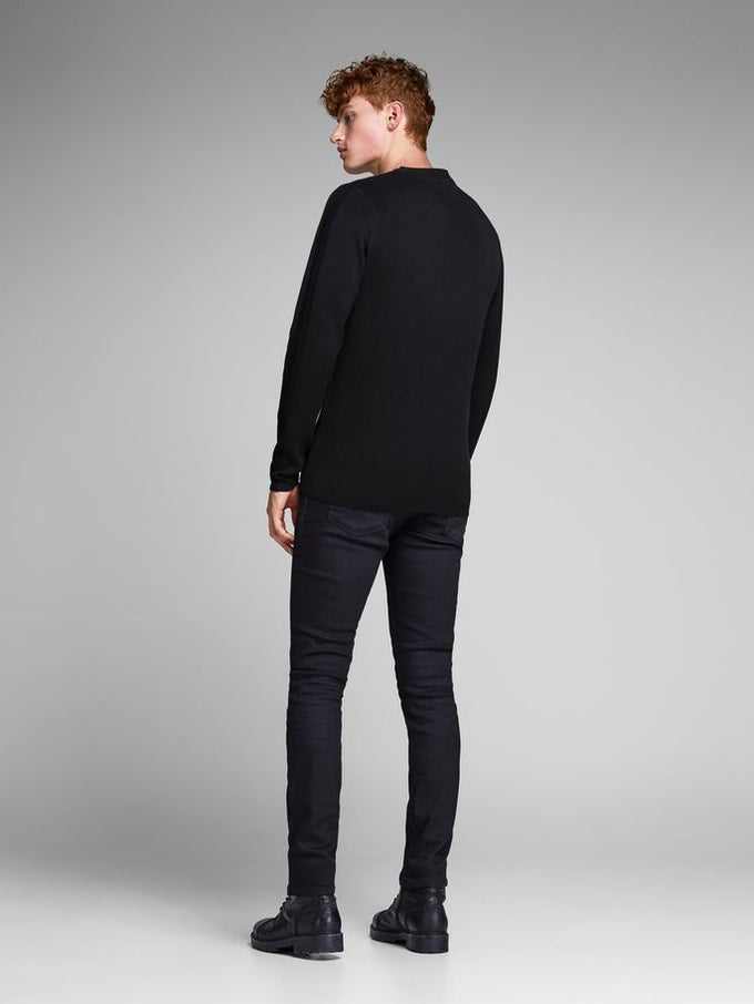 PREMIUM SWEATER WITH PATTERNED SLEEVES Black