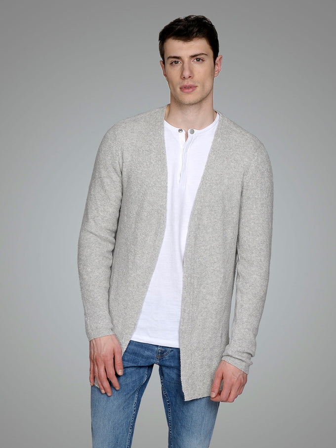 WOOL-BLEND OPEN CARDIGAN Grey Melange