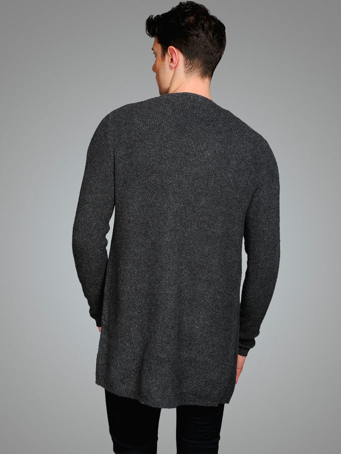 WOOL-BLEND OPEN CARDIGAN Dark Grey Melange