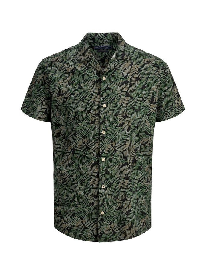 PALM PRINT VISCOSE SHIRT Duck Green