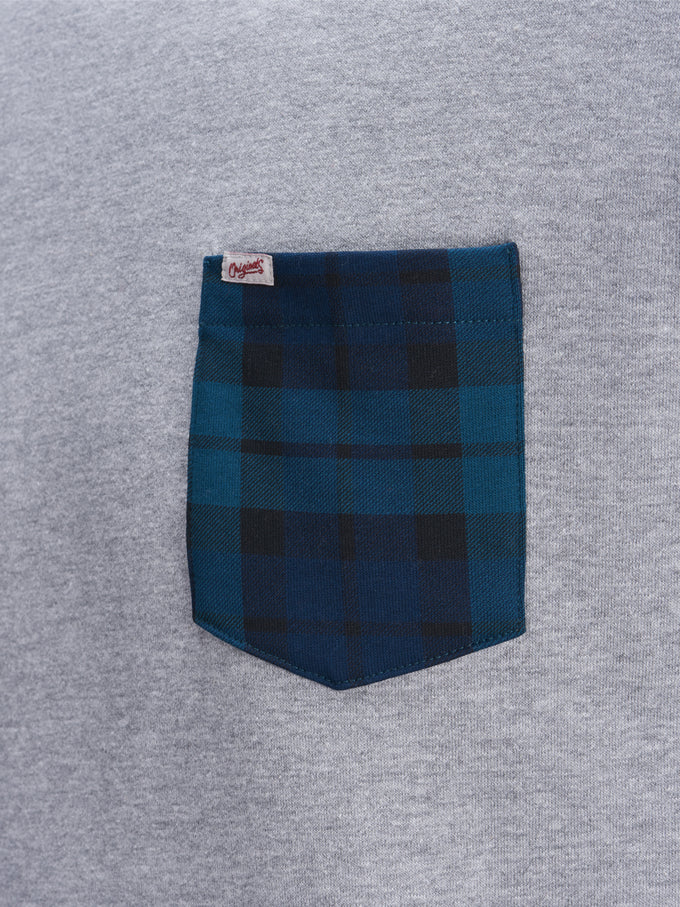 ORIGINALS SWEATSHIRT WITH TARTAN DETAILS Light Grey Melange
