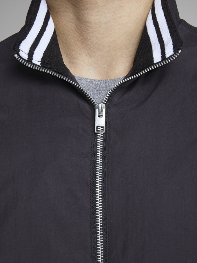 BOMBER JACKET WITH STAND-UP COLLAR Black