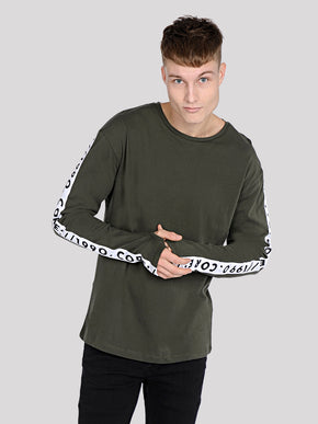 TAPE DETAIL LONG SLEEVE T-SHIRT