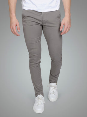 GREY SKINNY FIT CHINO PANTS