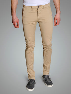 TAN SKINNY FIT CHINO PANTS