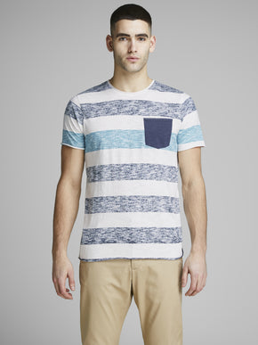 POCKET T-SHIRT WITH HEATHERED STRIPES