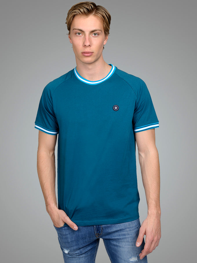 CORE T-SHIRT WITH STRIPED EDGES Blue Coral