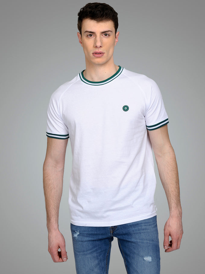 CORE T-SHIRT WITH STRIPED EDGES White