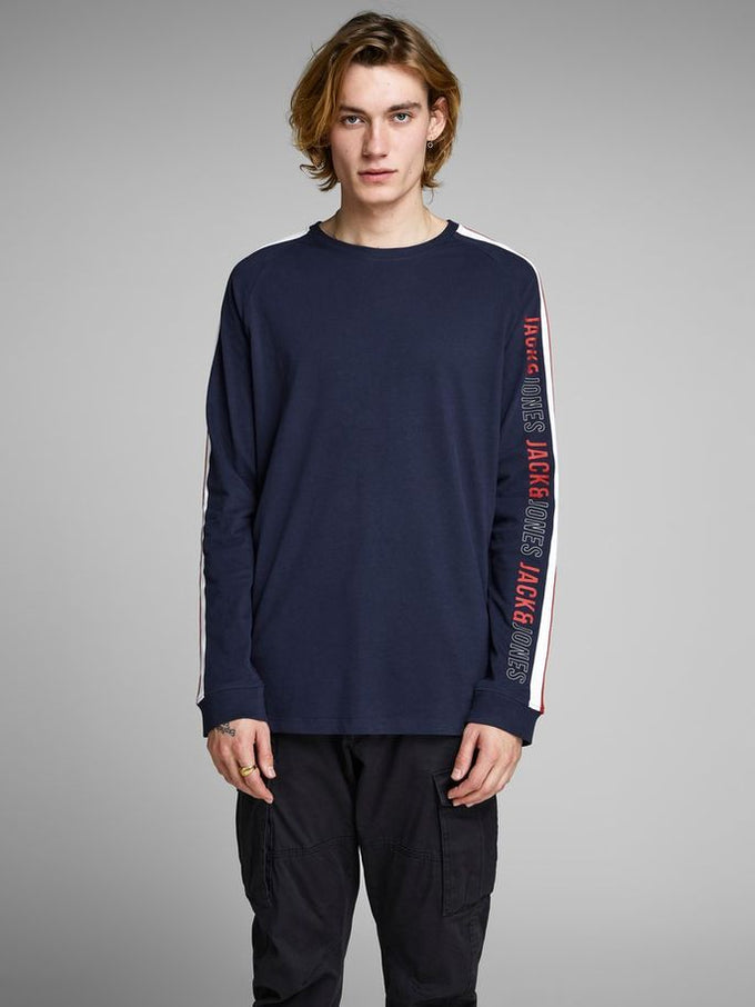 LONG SLEEVE T-SHIRT WITH STRIPED SIDES Maritime Blue