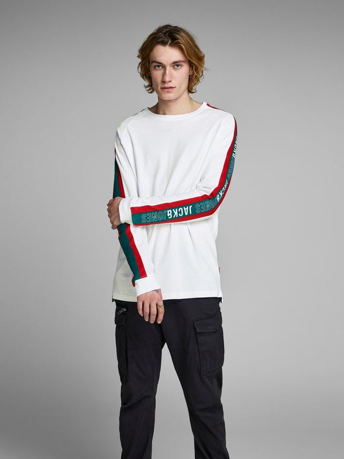 LONG SLEEVE T-SHIRT WITH STRIPED SIDES White