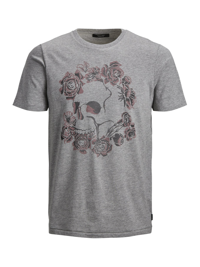 SKULL PRINT PREMIUM T-SHIRT Light Grey Melange