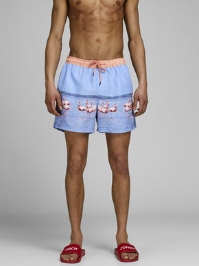 FLAMINGO PHOTO PRINT SWIM SHORTS