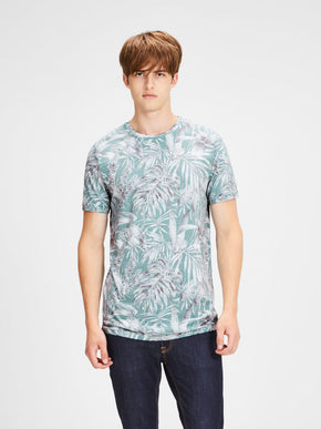 TROPICAL PRINT LONG FIT T-SHIRT