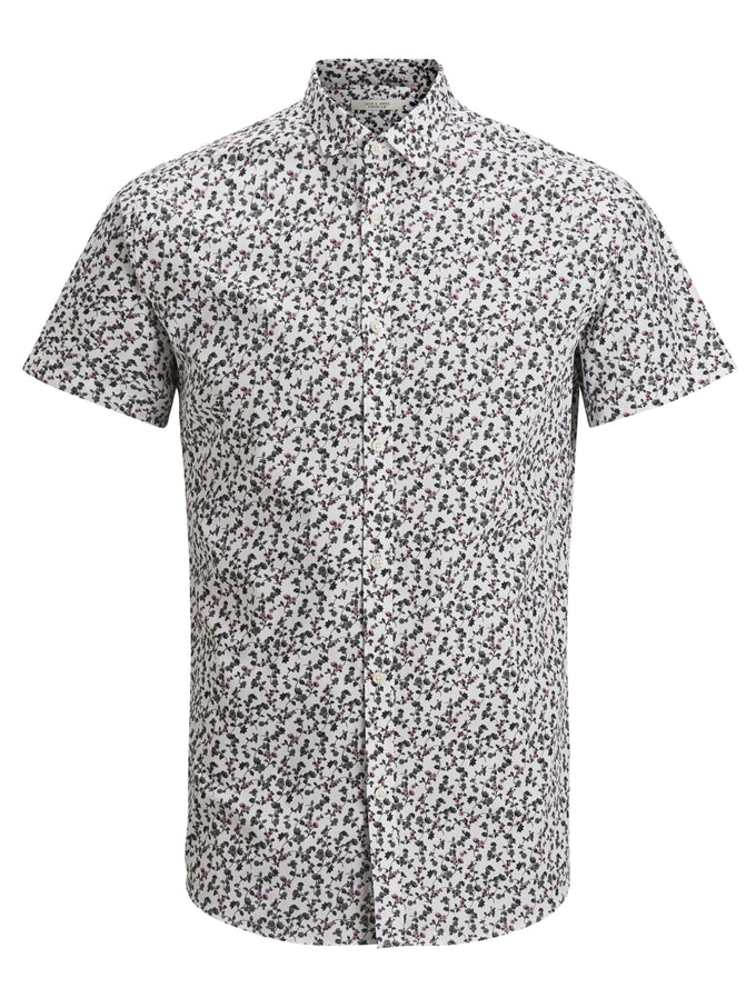 PREMIUM MICRO-PRINT SHORT SLEEVE SHIRT White