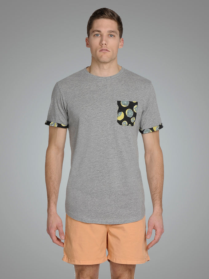 TROPICAL PRINT LONG FIT T-SHIRT Light Grey Melange