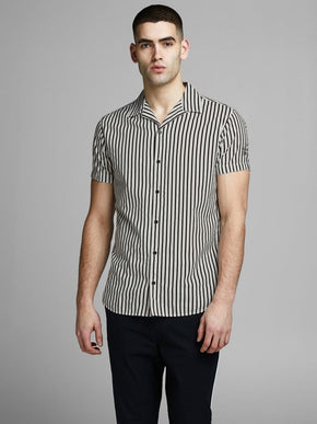 BLACK & WHITE STRIPED SHORT SLEEVE SHIRT