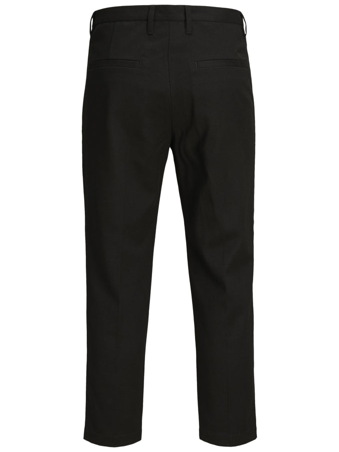 TAPERED FIT PLEATED PANTS Black
