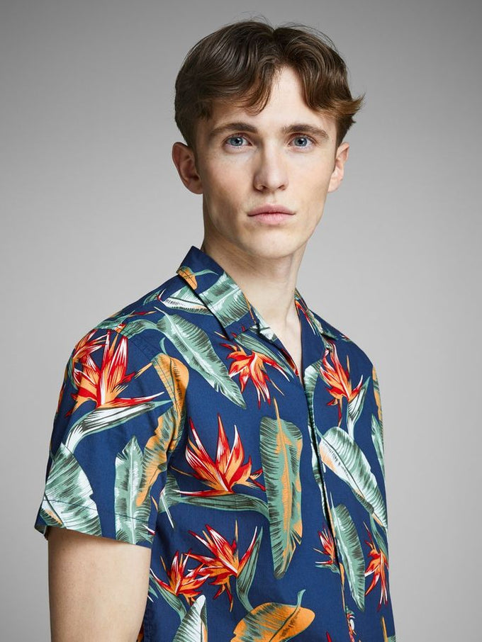 TROPICAL PRINT SHORT SLEEVE SHIRT Blue Depths