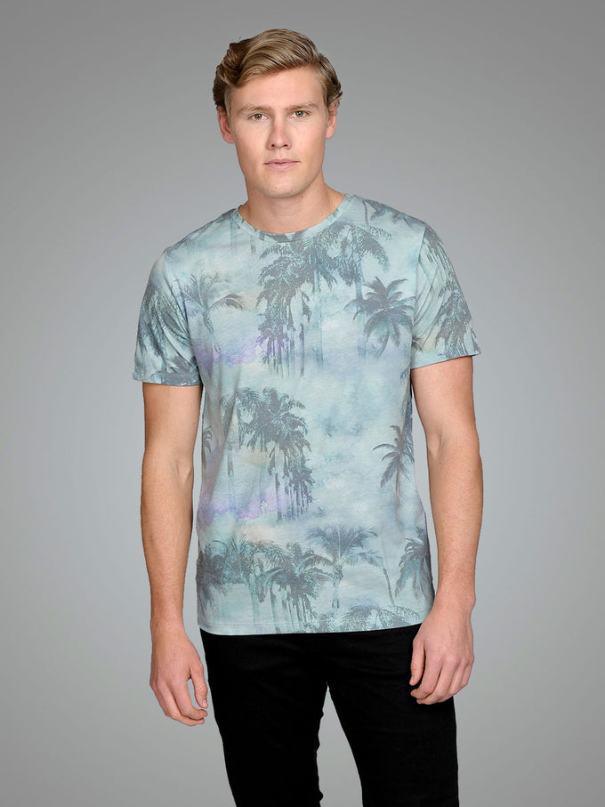 TROPICAL PRINT T-SHIRT Cloud Dancer