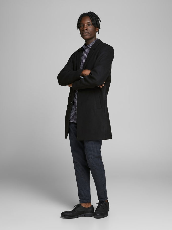 MOULDER WOOL COAT Black