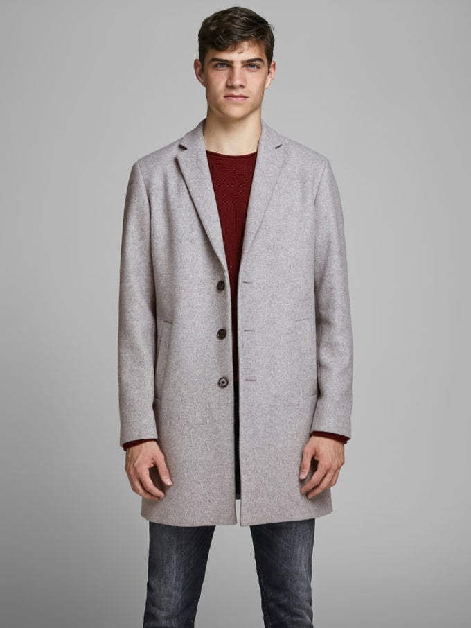 MOULDER WOOL COAT Light Grey Melange
