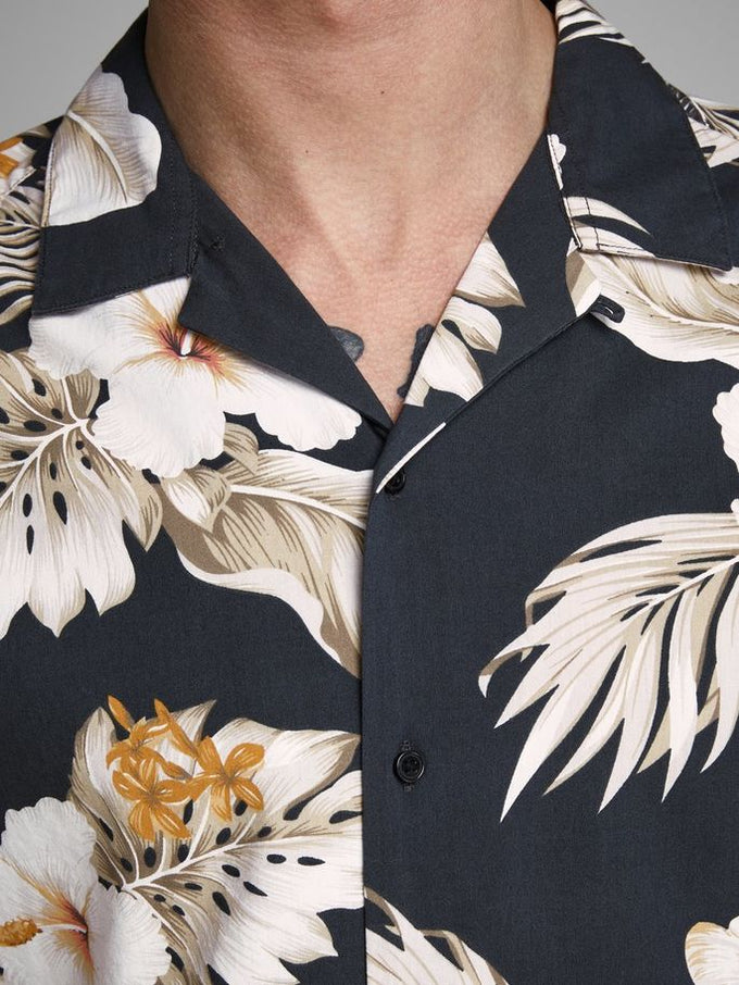 VISCOSE BLEND HAWAII SHORT SLEEVE SHIRT Black