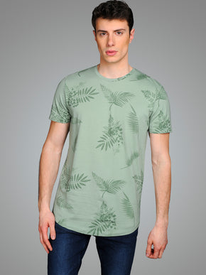 TROPICAL LONG CURVED T-SHIRT