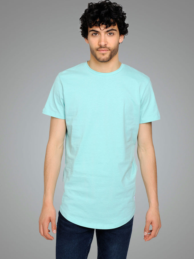 NOA LONG FIT CURVED T-SHIRT Aqua Sky