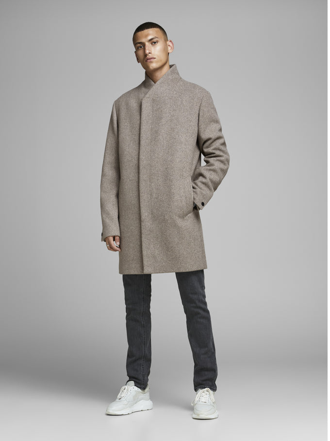 WOOL COAT WITH ASYMMETRIC COLLAR Greige