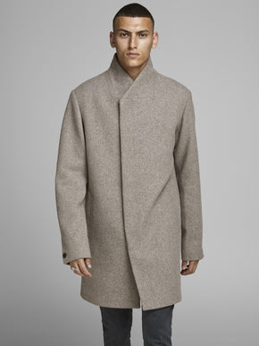 WOOL COAT WITH ASYMMETRIC COLLAR