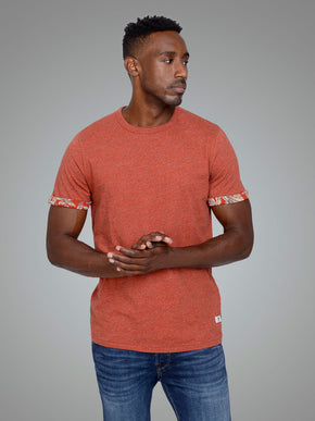 HEATHERED T-SHIRT WITH FLORAL CUFFS