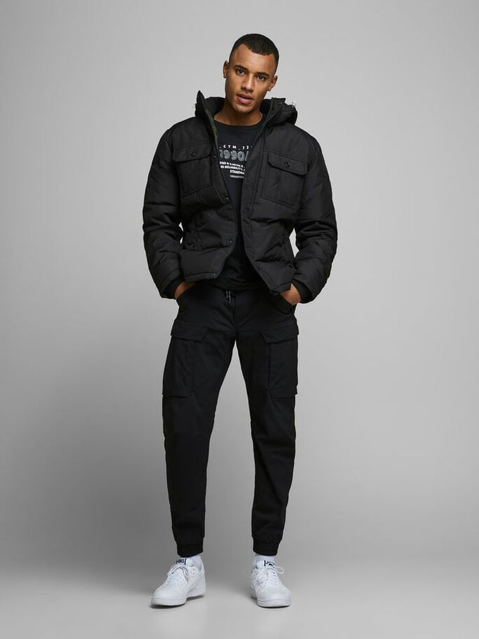 PADDED PUFFER JACKET WITH DETACHABLE HOOD Black