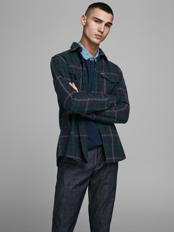 SPENCER CHECKED OVERSHIRT Navy Blazer