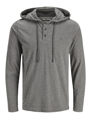 HENLEY STYLE KNIT HOODIE