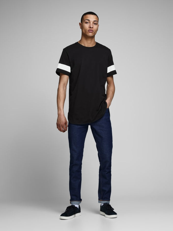LONG FIT T-SHIRT WITH SIDE STRIPES Black