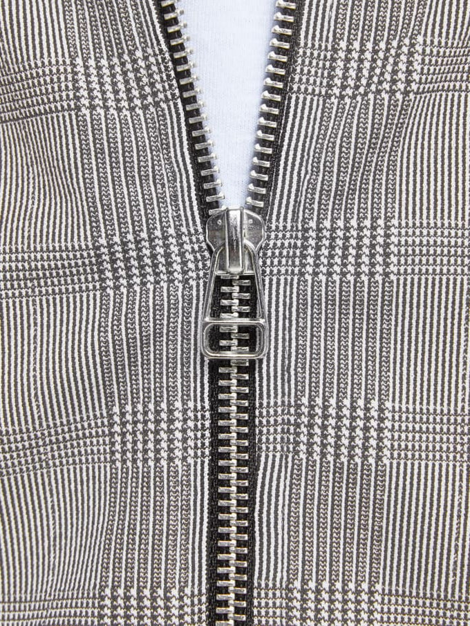 CHECKERED ZIPPED CARDIGAN Light Grey Melange