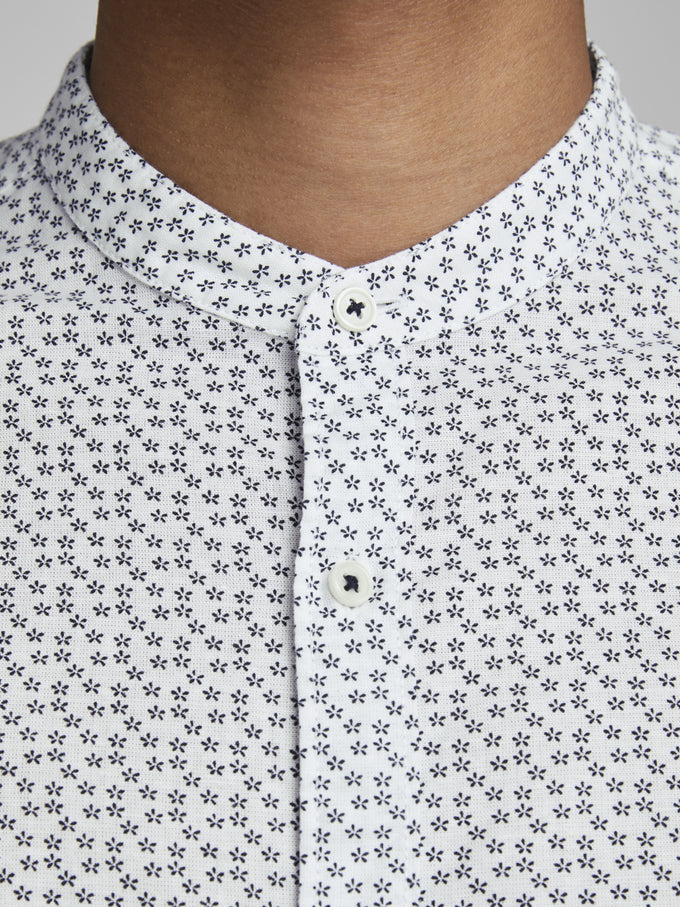 SUMMER BAND MANDARIN COLLAR SHIRT White