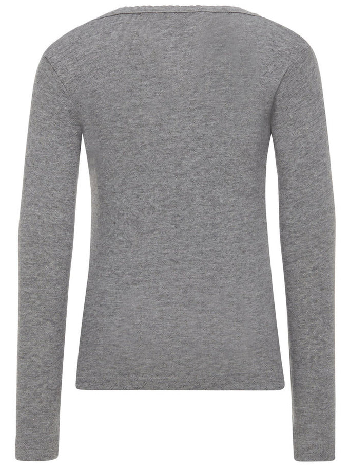 LONG SLEEVE T-SHIRT WITH PERFORATED PATTERN Grey Melange